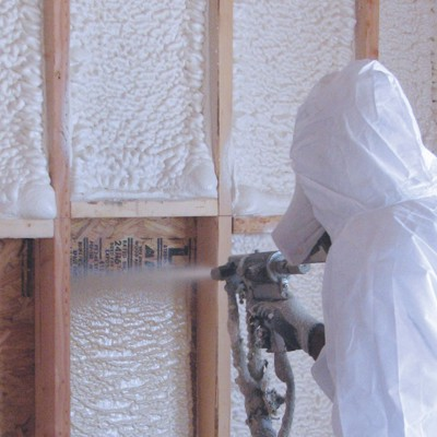 Foam spraying installer