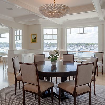 Groom Construction, custom residence dining room with coffered ceiling and harbor view