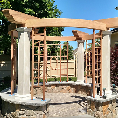National Millwork custom circular laminated beam in a pergola under construction