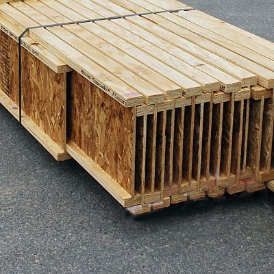 Precision end trimmed I-joists bundled for delivery