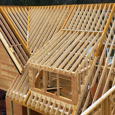 Precut Rafters installed in a house under construction