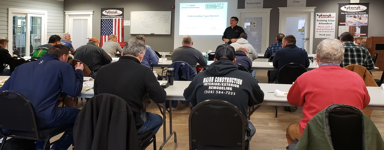 Peter Lawton of LeadSMART teaching a class in National Lumber's Training Room at 245 Oakland St, Mansfield, MA